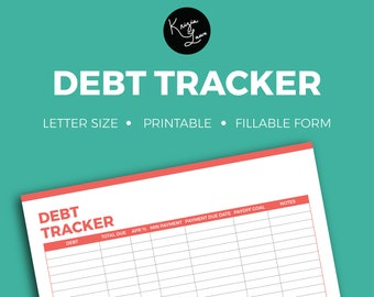 Debt Tracker + Editable + Fillable + Printable + Household + Organization + Tracker + Notes + To Do + Checklist + Organize + Budget