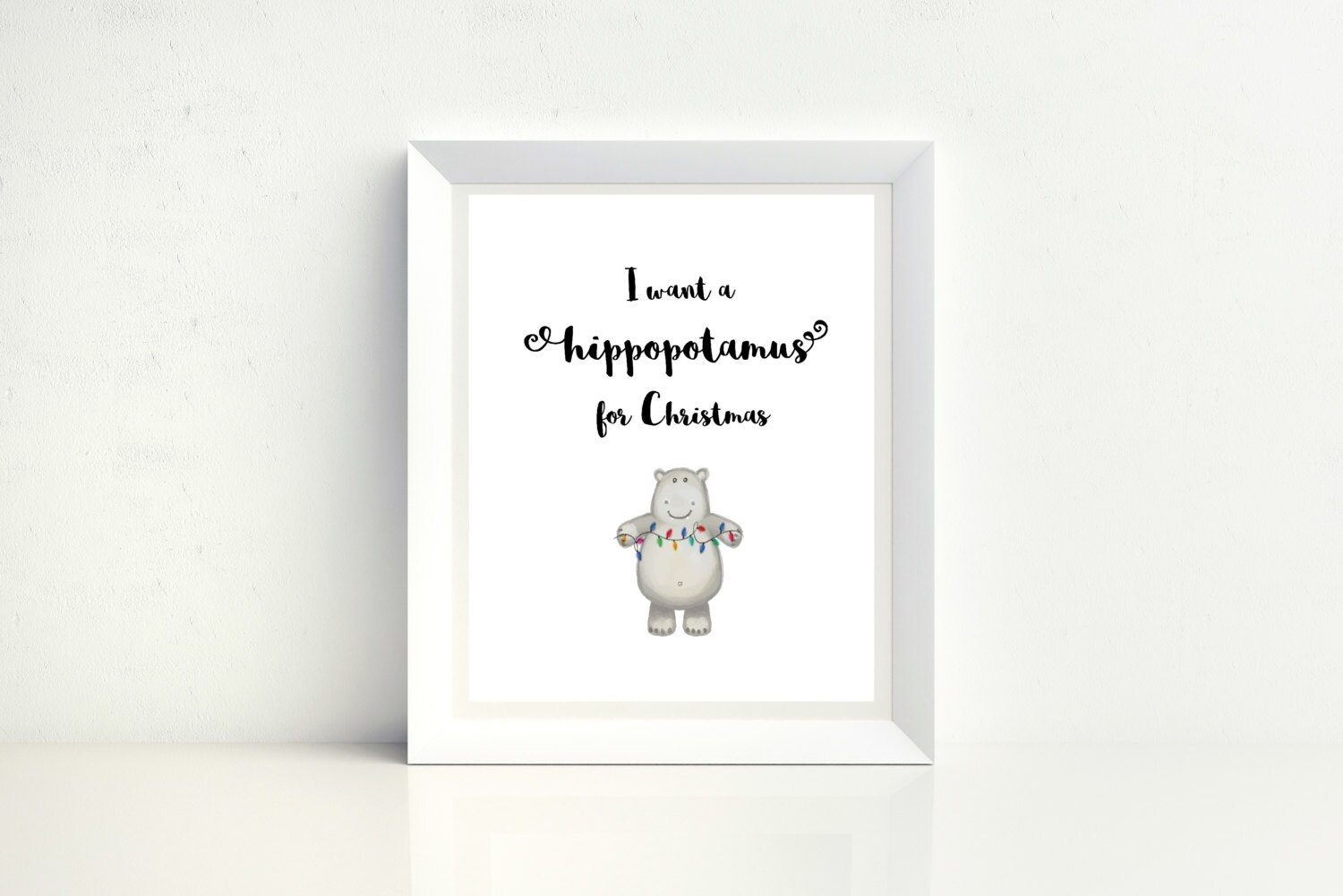 I Want a Hippopotamus for Christmas Watercolor Digital Print | Etsy