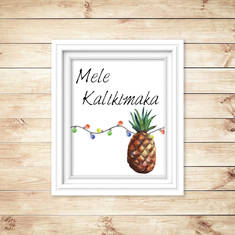 Mele Kalikimaka Hawaiian Christmas Watercolor Digital Etsy