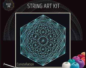 Interior design in string art by anna by magiclinestore on etsy string art kit onstellation mandala patterns mandala kits zen gift do it yourself string art diy solutioingenieria Images