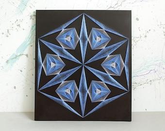 CRYSTAL - symbol of eternity, string art, mandala, zen, sacred geometry, wall art, pictures, home decor, wall decor, nail art, wall hanging