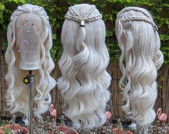 Daenerys Targaryen custom styled braided wig, Khaleesi Cosplay, Heat Resistant Synthetic Lace Front Wig