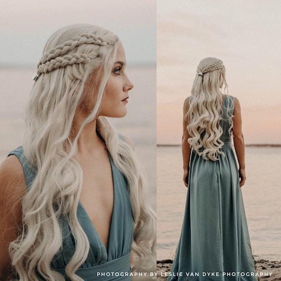 Daenerys Targaryen Custom Styled Braided Wig Khaleesi Cosplay Heat Resistant Synthetic Lace Front Wig