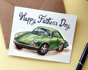 PRINTABLE Happy Father's Day Card with Envelope    Watercolor Car Vintage Inspired Greeting Card, Card for Dad Instant DIY Card PDF Download