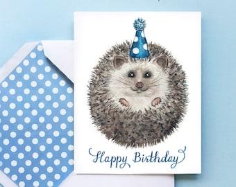 Hedgehog Birthday Card, Printable Card, Printable Envelope, Woodland Card, Cute Baby Animal Card, Baby Hedgehog Card, African Hedgehog, PDF