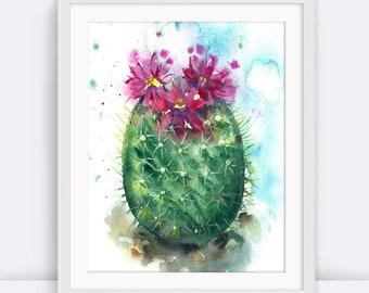 PRINTABLE Cactus art, Dorm Decor, Watercolor Wall Art, Watercolor Print, Modern Decor, Modern, Office Art, Home Decor, Nursery Wall Art