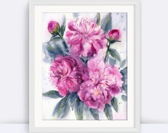 PRINTABLE Peony Art, Watercolor Floral Painting, Dorm Decor, Poster Peony Print, Modern Decor, Modern, Office Art, Home Decor, Nursery Art