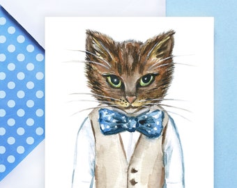 PRINTABLE Happy Father's Day Card with Envelope    Watercolor Cat in Bow Tie Greeting Card, Card for Dad, Instant DIY Card, PDF Download
