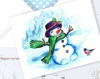 PRINTABLE CHRISTMAS Card, Printable Envelope, Printable Holiday Card, Merry Christmas, Watercolor Print, Instant Download, PDF