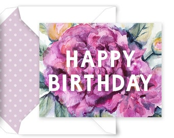 PRINTABLE Birthday Card, Printable Envelope, Watercolor Floral Cards, Happy Birthday, Pretty Birthday Card, Card for Her, Instant Download