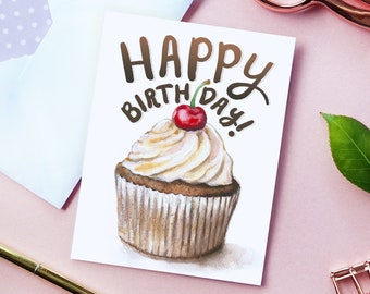 PRINTABLE BIRTHDAY CARD, Printable Envelope, Cute Birthday Card, Instant Download, Watercolor Cupcake Card, Card for Her, Funny Card for Him