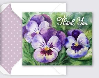 Printable Thank You Card, Violet Floral Card, Printable Card, Envelope, Watercolor Card, Flowers Card, DIY Card, PDF, Instant Download