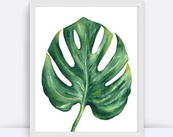 Monstera Leaf Print, Dorm Decor, Minimalist Art, Tropical Print, Green Leaves, Resort Art, Instant Wall Art, Printable Leaves, Botanical Art