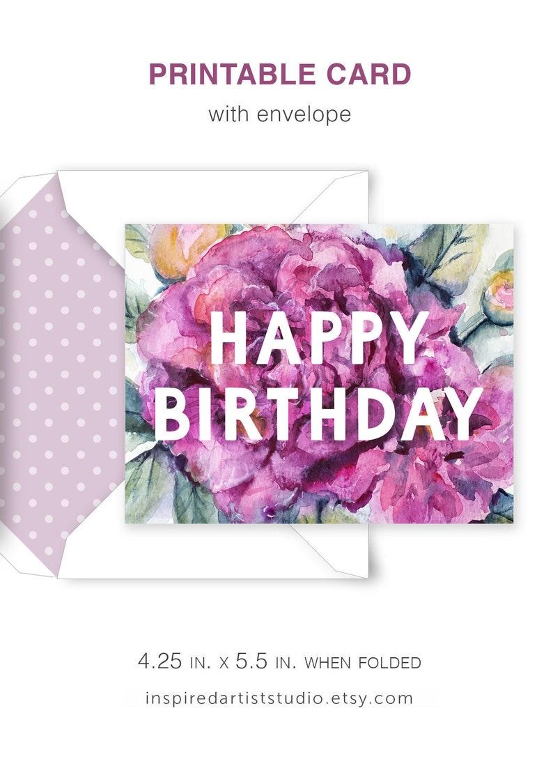 PRINTABLE Birthday Card Printable Envelope Watercolor Floral