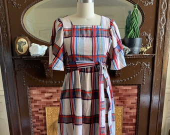 202d6c54b68 Vintage Madras Dress • Plaid Summer Dress • Madras Plaid Dress • Vintage Plaid  Dress • Vintage Summer Dress • Full Sleeve Dress • 60s Dress