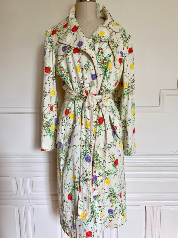 60s 70s Donald Brooks Floral Trench Coat Size M