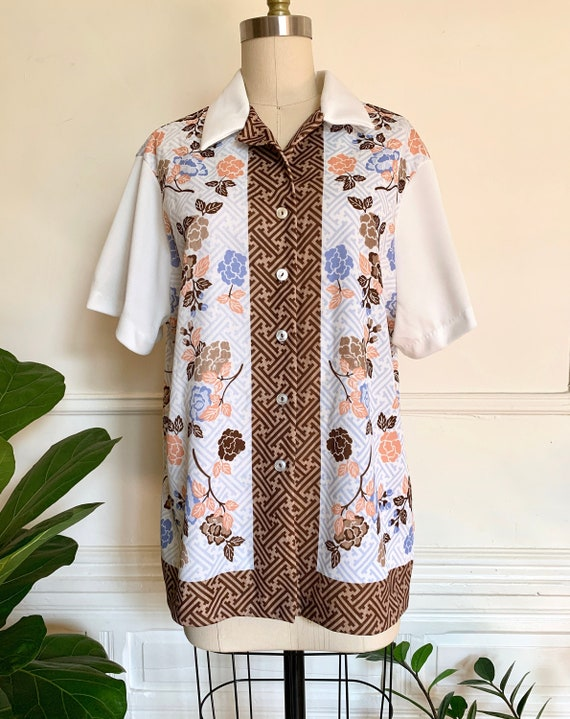 1960s/70s Printed Poly Cabana Style Shirt