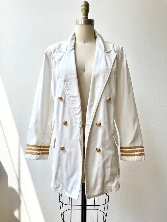 Vintage 80s Ralph Lauren white nautical blazer - image 3