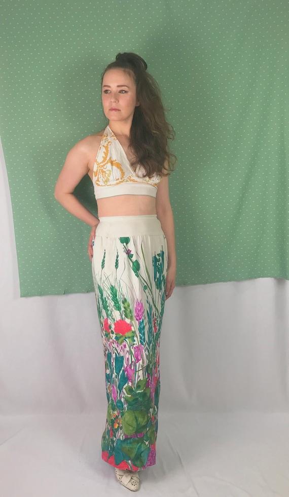 Vintage Floral Maxi Skirt • Hand Painted Floral Sk