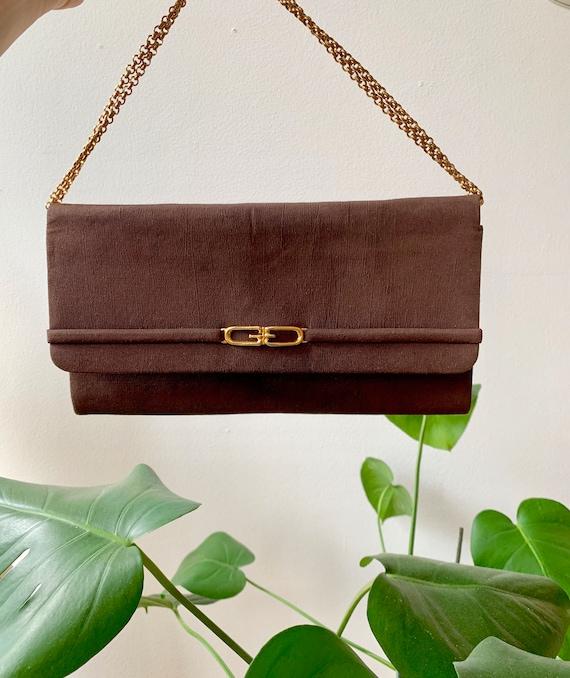 Vintage 70s Gucci Brown Clutch Handbag with Gold … - image 1