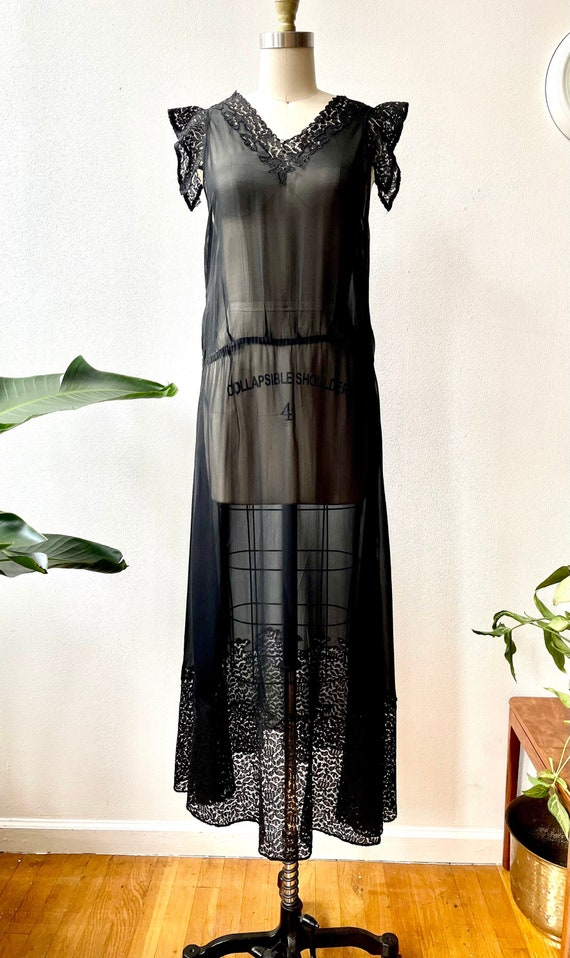 Vintage 20s/30s sheer black lace dress