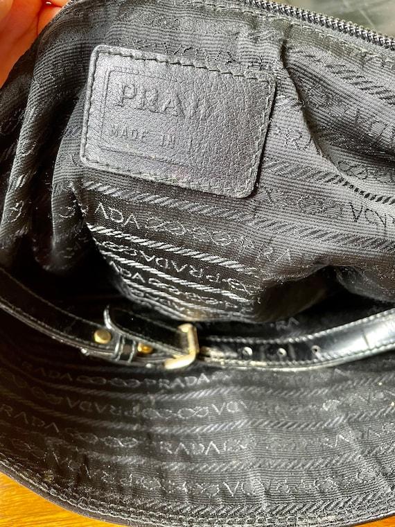 Vintage 90s Prada Black Leather Satchel Bag - image 8