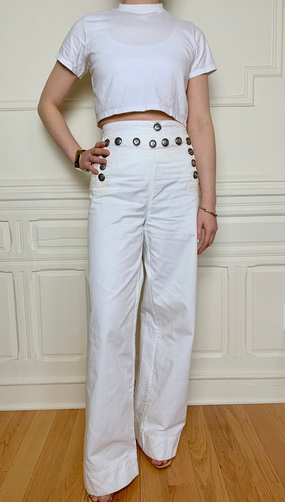 Vintage White Cotton Sailor-Style Pants