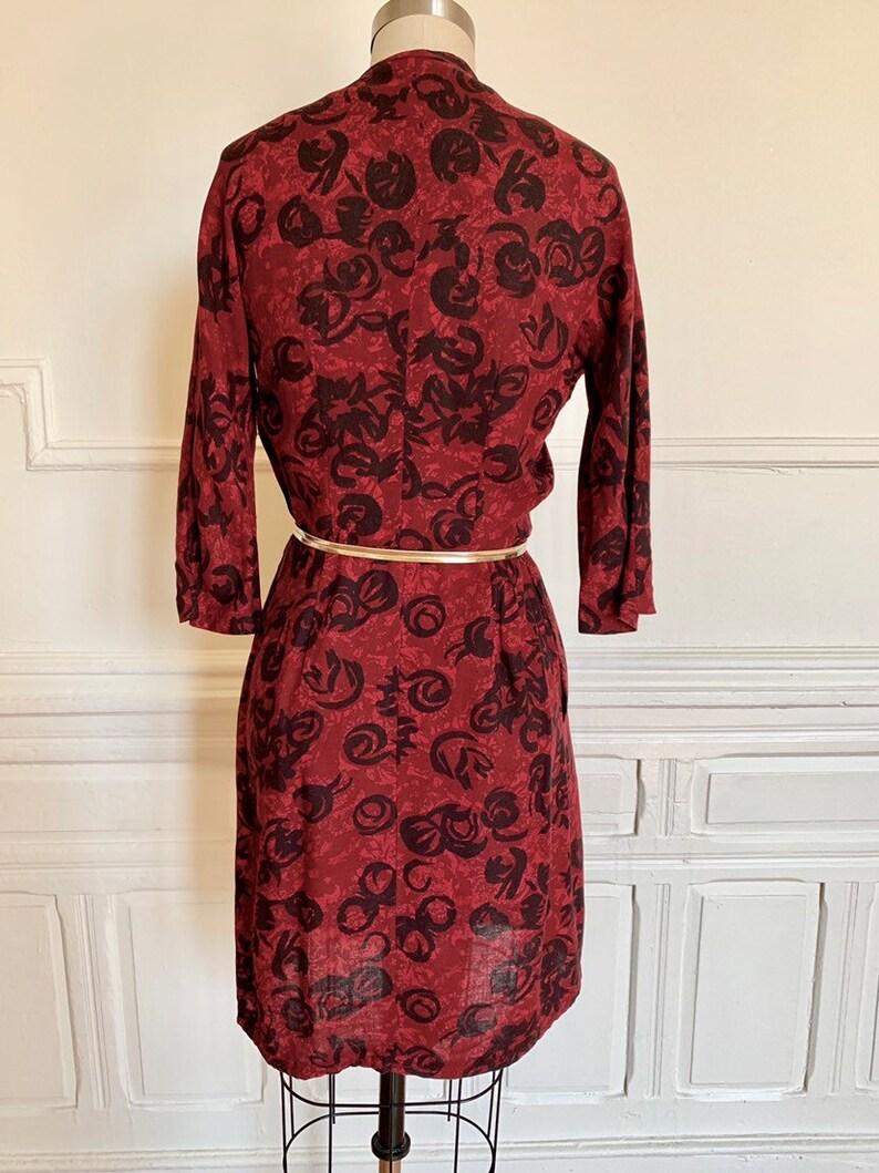 Vintage Red and Black Floral Dress \u2022 Vintage Tie Neck Dress \u2022 Vintage Nelly Don Dress \u2022 Vintage Fall Dress \u2022 Vintage Long Sleeve Dress