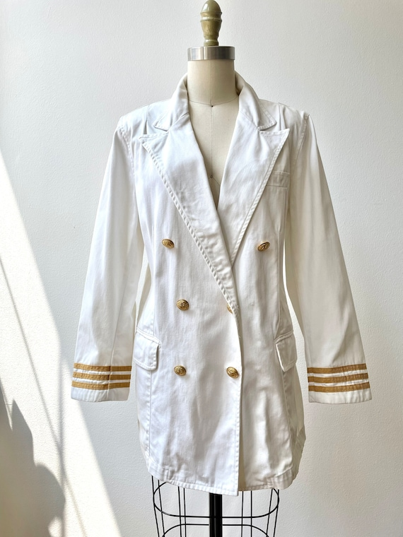 Vintage 80s Ralph Lauren white nautical blazer - image 1