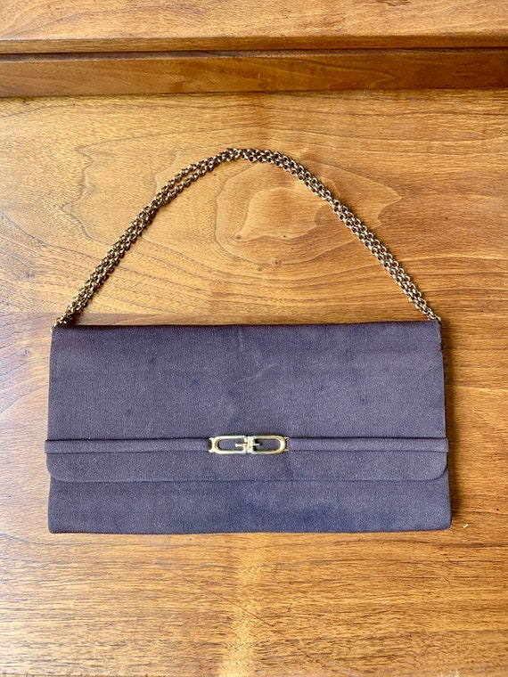 Vintage 70s Gucci Brown Clutch Handbag with Gold … - image 3