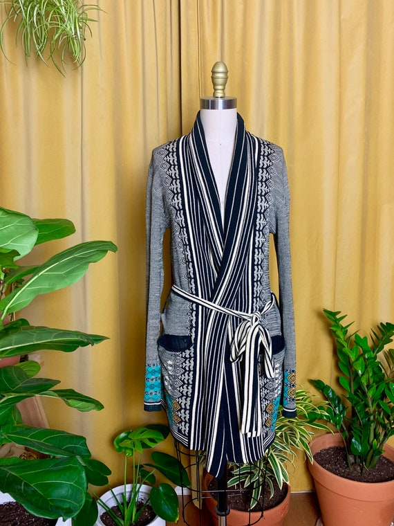 Vintage Woven Shawl Collar Belted Cardigan