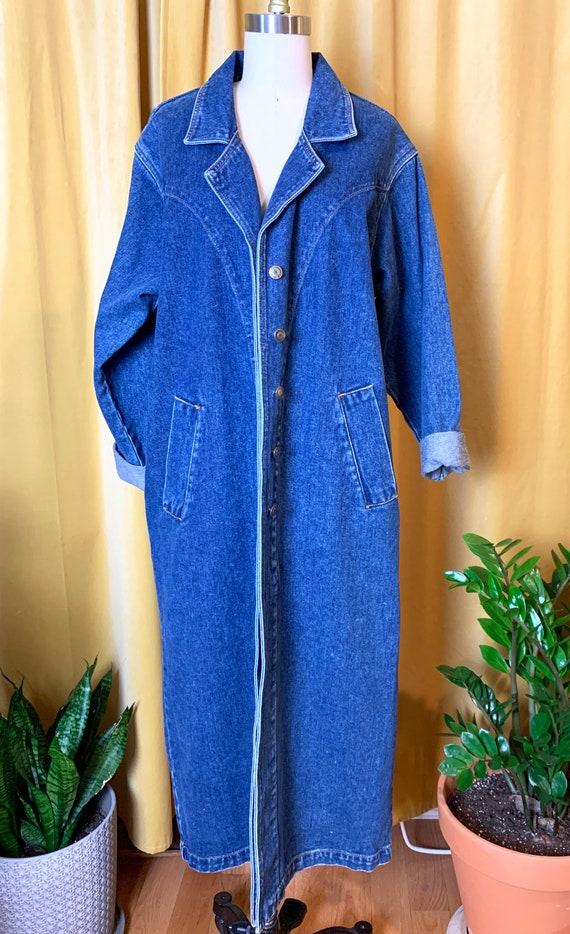 Vintage 90s Long Denim Duster Coat