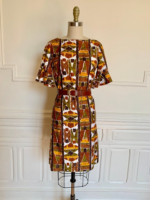 vintage 60s tiki flutter sleeve shift dress