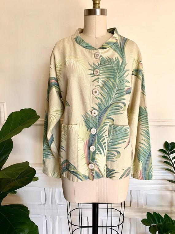 Vintage 1960s Barkcloth Tropical Print Jacket