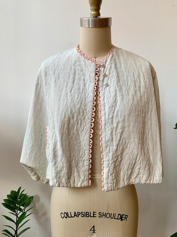 1950s Lord and Taylor Cropped Quilted Bed Jacket S