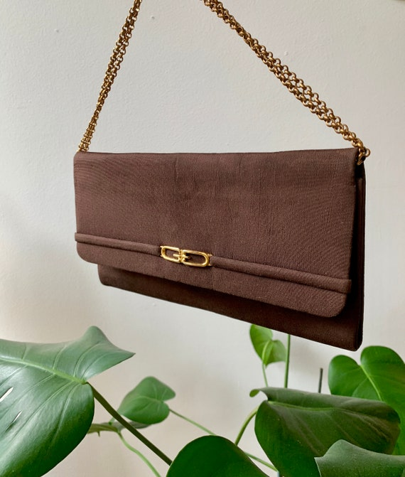 Vintage 70s Gucci Brown Clutch Handbag with Gold … - image 2