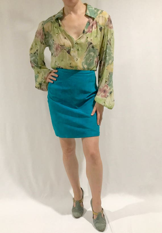 The Best Vintage 1980s Turquoise Suede Mini-Skirt