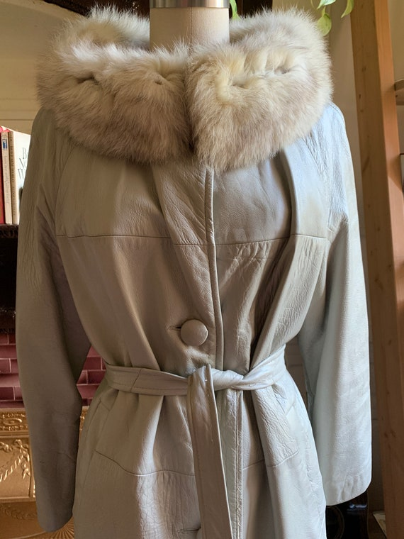 60s/70s Grey Leather Trench Coat with Fur Collar