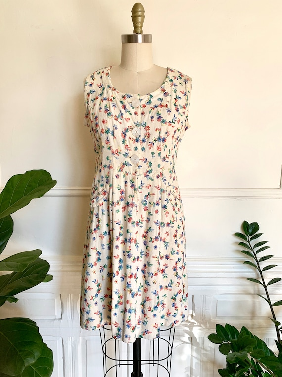 Vintage 40s Floral Embroidered Dress Size S/M