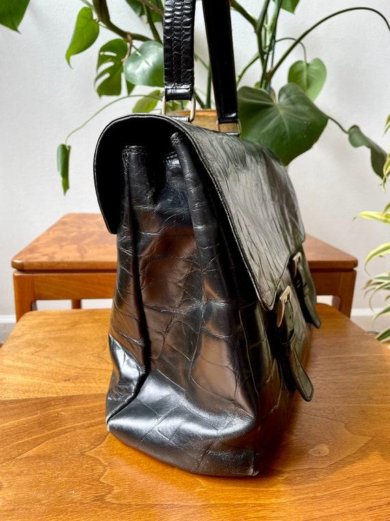 Vintage 90s Prada Black Leather Satchel Bag - image 4