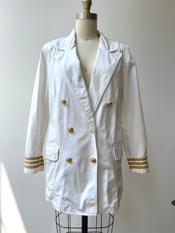 Vintage 80s Ralph Lauren white nautical blazer - image 2