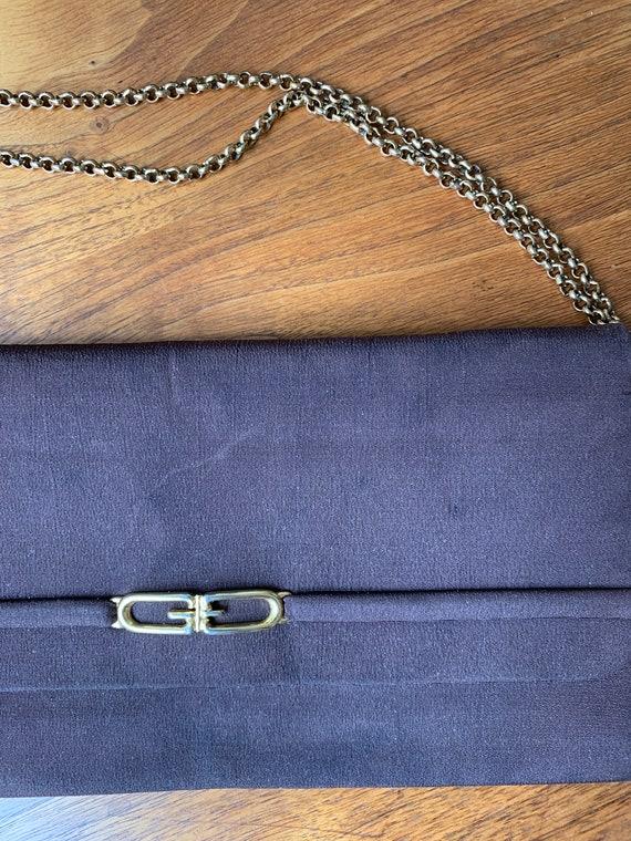 Vintage 70s Gucci Brown Clutch Handbag with Gold … - image 7