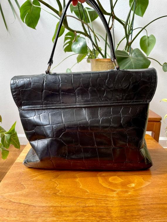 Vintage 90s Prada Black Leather Satchel Bag - image 5