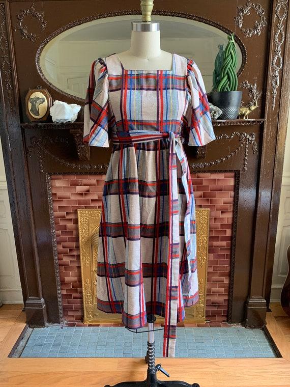 Vintage Madras Dress • Plaid Summer Dress • Madras