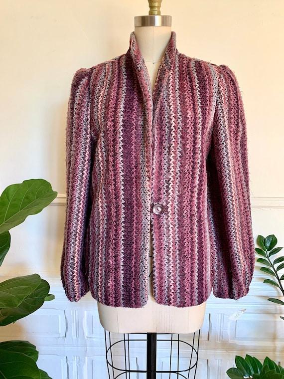Vintage 70s Purple Knit Donnybrook Jacket Size S/M