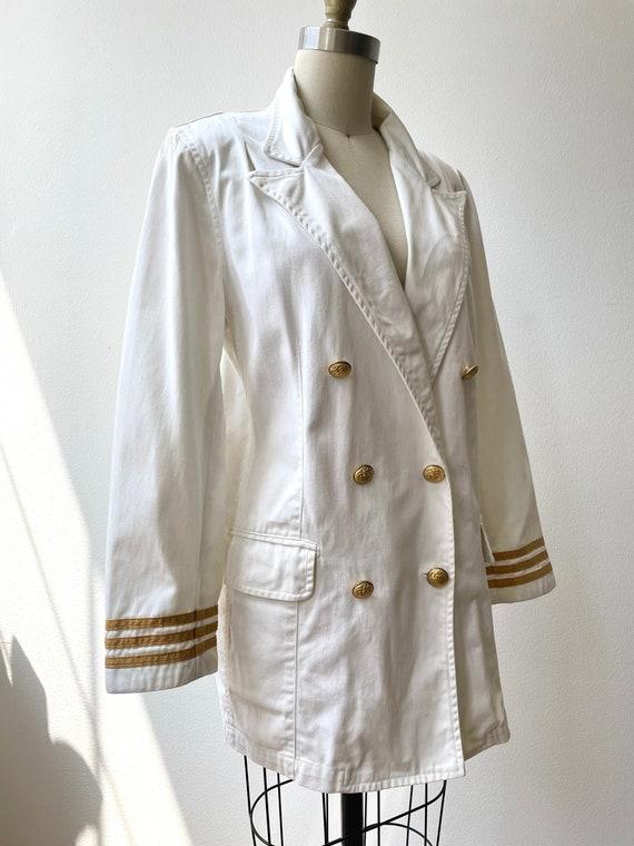 Vintage 80s Ralph Lauren white nautical blazer - image 7