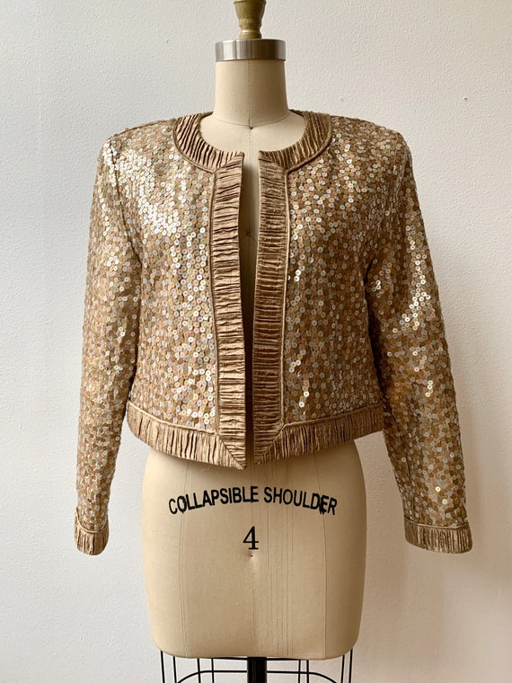Vintage Jeanne Marc Bronze Sequin Cropped Evening