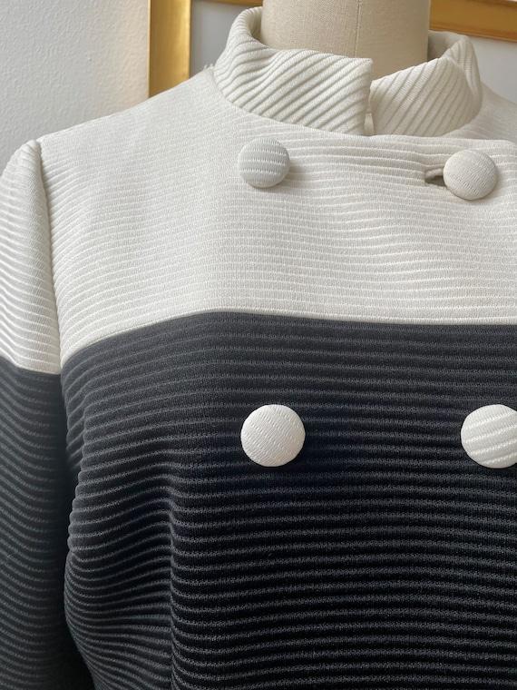 Vintage 60s black and white Lilli Ann knit coat - image 4
