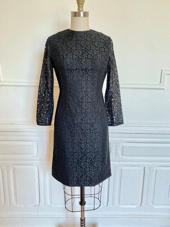 Vintage 60s Black Lace Cocktail Dress • Black Lace