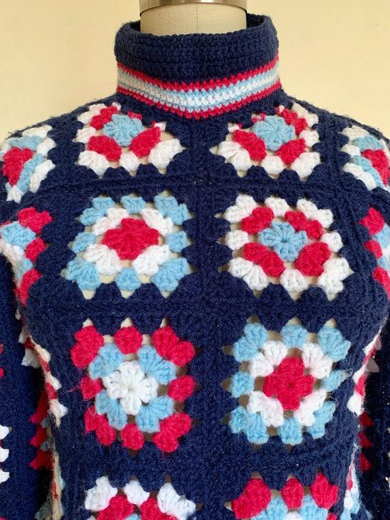 Vintage Handmade Granny Square Turtleneck Sweater… - image 4